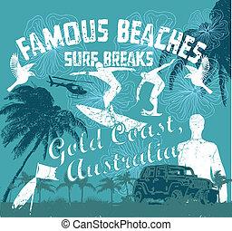 costa, vettore, arte, oro, surfer
