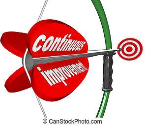 costante, continuo, arco, meglio, freccia, progresso, miglioramento
