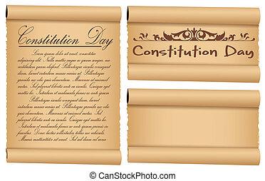 costituzione, bandiere, pergamena, giorno