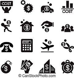 costo, set, affari, icona