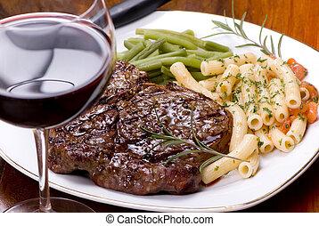 costola, cena, bistecca, occhio, 5