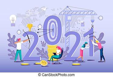costruire, affari persone, anno, nuovo