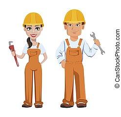 costruttore, donna, uomo, uniforme