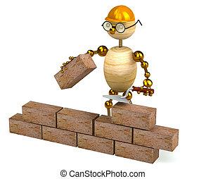 costruttore, legno, 3d, uomo