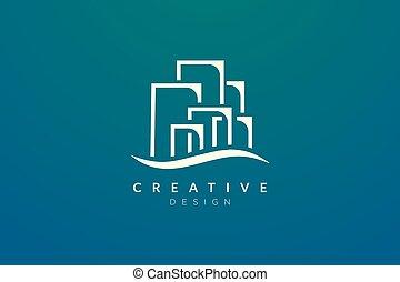costruzione, affari, semplice, logotipo, design., vettore, moderno, o, appartamento, città, minimalista, tuo, product., marca, disegno