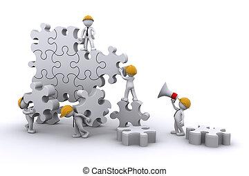 costruzione, affari, sviluppo, concept., lavoro, puzzle., squadra