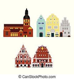costruzione, appartamento, città, architecture., viaggiare, riga, vacanza, paese, lettonia, punto di riferimento, mondo, icona, sightseeing