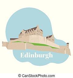 costruzione, appartamento, grande, unito, edinburgh, scozia, viaggiare, attrazione, storico, kingdom., vista, landmark., britain., castello, icona, città, sightseeing., architettura