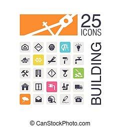 costruzione, appartamento, icone