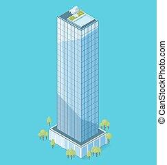 costruzione, appartamento, isometrico, ufficio, vettore, 3d
