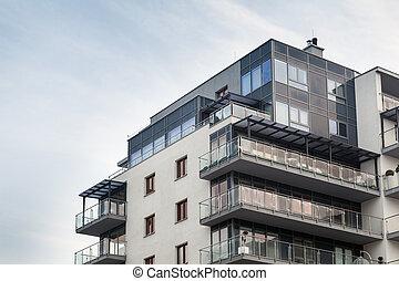 costruzione, appartamento, moderno