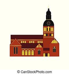 costruzione, appartamento, peter, città, architecture., viaggiare, riga, paese, lettonia, chiesa, punto di riferimento, icona, st., sightseeing