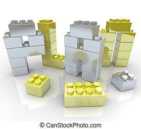costruzione, -, blocchi giocattolo, piano