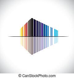 costruzione, blu, ufficio, ecc, questo, commerciale, graphic., moderno, -, illustrazione, come, arancia, colori, vettore, architettura, nero, rosso, colorito, astratto, struttura, icona