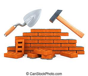 costruzione, casa, attrezzo, darby, isolato, costruzione, martello