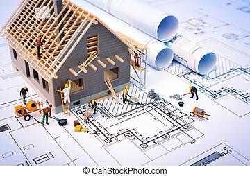 costruzione, casa, cianografie