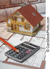 costruzione, casa, modello, architettura