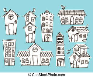 costruzione, casa, set, cartone animato