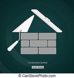 costruzione, casa, simbolo, creativo, vettore, disegno