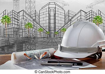 costruzione, casco, sicurezza, scena, pland, legno, architetto, file, tavola, costruzione, tramonto