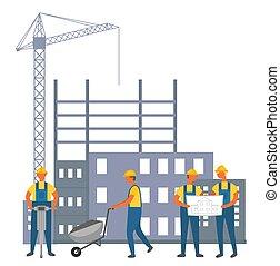 costruzione, casco, uniforme, costruttori, apparecchiatura, lavoro, costruzione, disegni, uomini