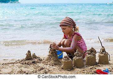 costruzione, castelli, sabbia, bambino