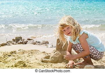 costruzione, castello sabbia, bambino
