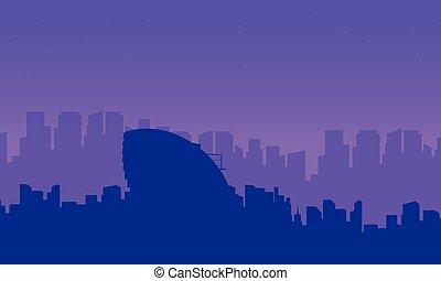 costruzione, città, collezione, silhouette, londra, paesaggio