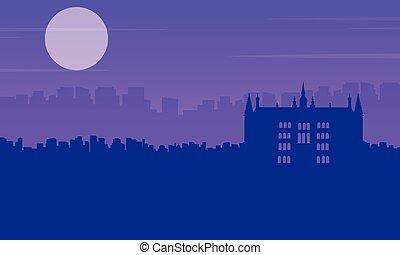costruzione, città, guidhall, scenario, silhouette, londra