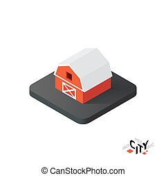 costruzione, città, isometrico, illustrazione, infographic, vettore, icona, elemento, granaio rosso