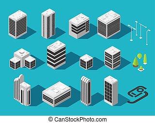 costruzione, città, isometrico, set, mappa, vettore, 3d