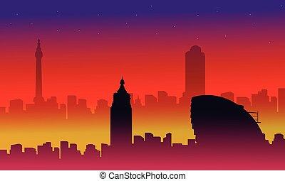 costruzione, città, scenario, collezione, silhouette, londra