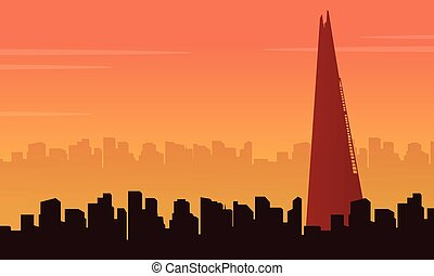 costruzione, città, scenario, illustrazione, vettore, londra
