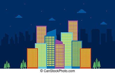 costruzione, città, silhouette, collezione