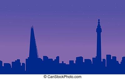 costruzione, città, silhouette, londra, paesaggio