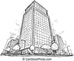 costruzione, città, vettore, alzarsi, alto, strada, disegno