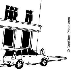costruzione, cityscape, strada, persone., nero, sketch., vettore, città, disegnato, illustrazione, bianco, mano, automobile