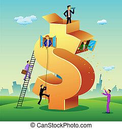 costruzione, dollaro, persone affari