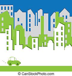 costruzione, environtmant, concetto, astratto, automobile., cityscape.
