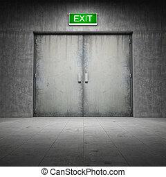 costruzione, fatto, porta, concreto, uscita, ??of