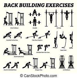 costruzione, figura, indietro, pictograms., bastone, esercizi, muscolo