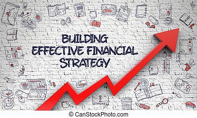 costruzione, finanziario, efficace, strategia, disegnato, mattone, wall.