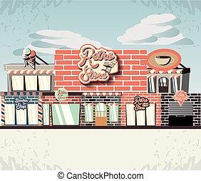 costruzione, fronte, retro, negozio