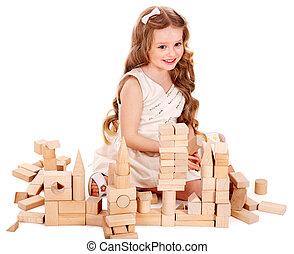 costruzione, gioco, bambino, blocks.