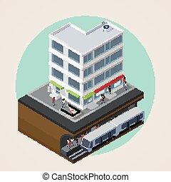 costruzione, illustrazione, isometrico, strada, vettore, città, me, 3d