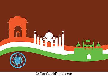 costruzione, india, fondo, monumento