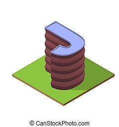 costruzione, isometrico, j, lettera, forma