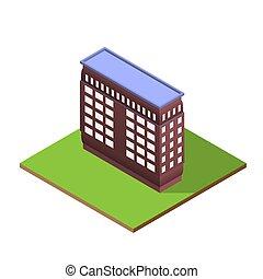 costruzione, isometrico, lettera, forma