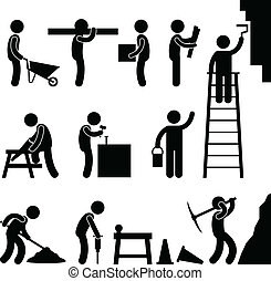costruzione, lavorare duro, lavoro