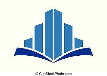 costruzione, logotipo, concetto, educazione, vettore